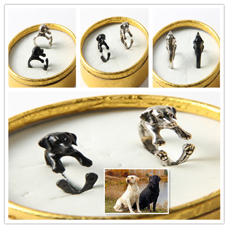 Free shipping  adjustable retro punk Labrador Ring free size hippie animal Labrador dog Ring jewelry for pet lovers<br><br>Aliexpress