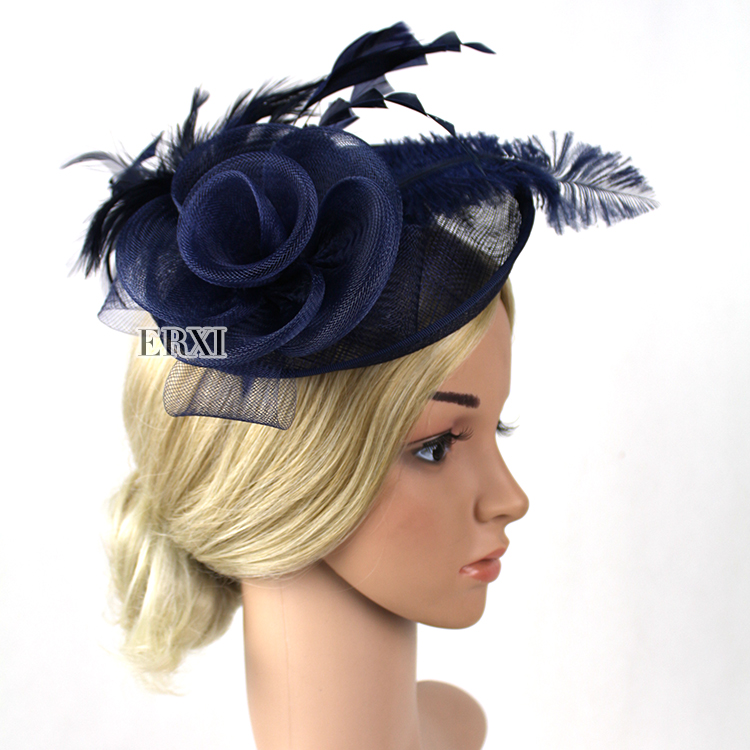 New arrival Navy Blue feathers fascinator hat, hair fascinator for wedding kentucky derby/Races/Party(China (Mainland))