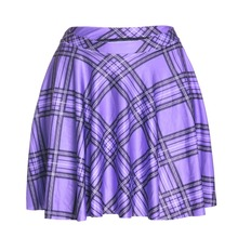 Casual summer style american apparel saia sexy 3d print Scotland plaid purple above knee mini Pleated skirts womens faldas jupe