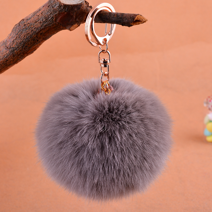 7 colors gilded keyring 9cm rabbit plush ball key chain brand car girl accessories, fur ball pom pom keychain on keys crystal(China (Mainland))