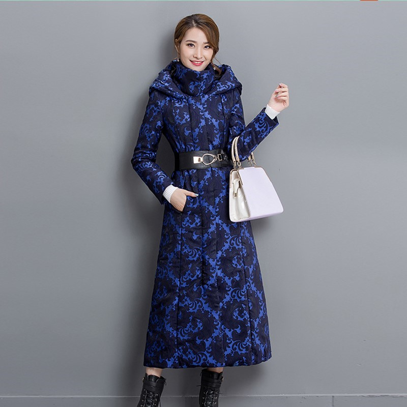 Womens Winter Jackets Jacquard Coats Women Warm Female Thick Parka Hooded Plus Ladies Slim Coat - Frank-Mart store