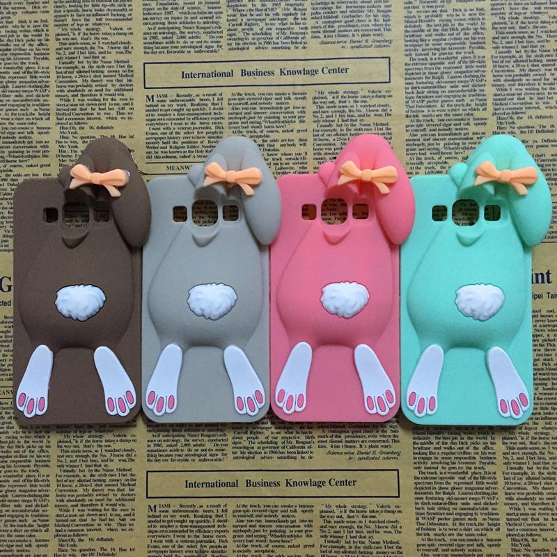 3D Cartoon Bunny Back Cover Case For Samsung Galaxy J5 J500 A5 A500 E5 E500 Rabbit Silicon Gell Phone case(China (Mainland))