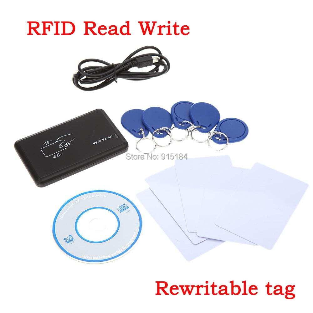 Brand New Security 125Khz rfid copy EM4100 T5577 125khz RFID Reader Writer USB + 5pcs Rewritable Card +5PCS ID tag for access(China (Mainland))