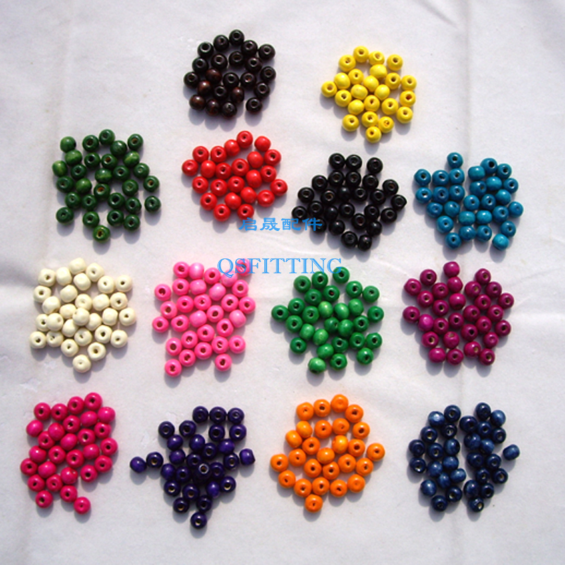 Shipping Free,DIY fashion Jewelry Accessory,8MM Wood Beads,8MM Round Shape,14 Different Colors,500 pcs a lot(China (Mainland))