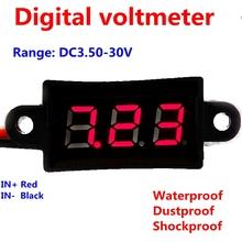 Nueva prueba de agua 0.56 pulgadas Mini Digital LED DC 3.5 – 30 V voltager Volt Meter Red