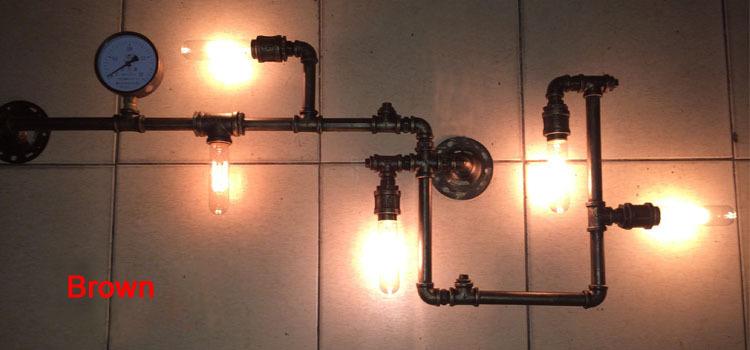 5 Light Water Pipe Wall Lamp Vintage Aisle Lamp Loft Iron Wall Lamp Perfectly Matching E27 Edison Incandescent Light Bulb(China (Mainland))