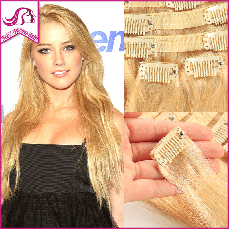 Clip In Remy Human Hair Extensions Full Head 1Set/Lot Indian Virgin Hair Clip In Extensions 613 Colored Clip On Hair Extensions<br><br>Aliexpress
