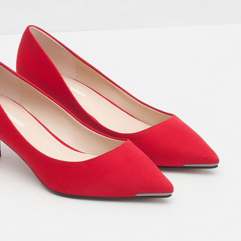 Spring New 2016 Classic OL Female Genuine Leather Fashion Shoes Pointed Toe Red/Gray Heels Fashion Shoes Working Shoes Casual
