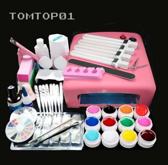 Pro 36W UV GEL Pink Lamp & 12 Color UV Gel Practice Fingers Cutter Nail Art DIY Tool Kits Sets(China (Mainland))