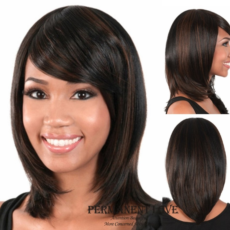 Brown long Straight  Hair Wigs with bangs 2015 Fashion Heat Resistant Synthetic hair wigs for Black Women Wigs<br><br>Aliexpress