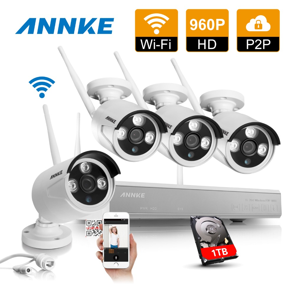 ANNKE Wireless 4CH NVR Kit P2P 960P 1.3MP IR Night Vision Security IP Camera WIFI CCTV Surveillance System 1TB HDD(China (Mainland))