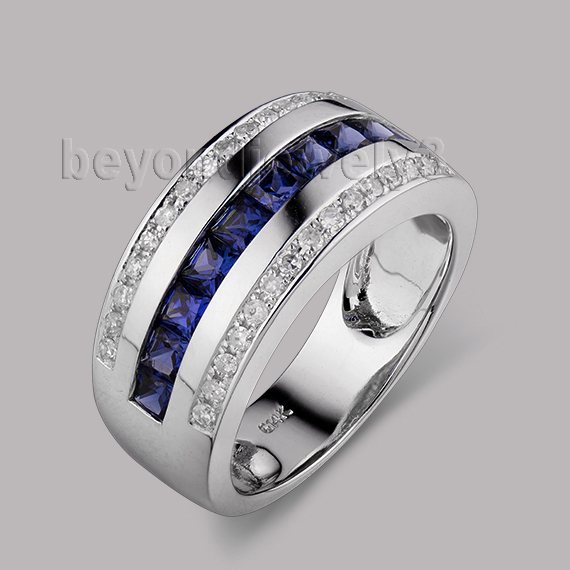 Fahion Jewelry Solid 14Kt White Gold Natural Dia Sapphire Wedding Band Ring SR0009A<br>