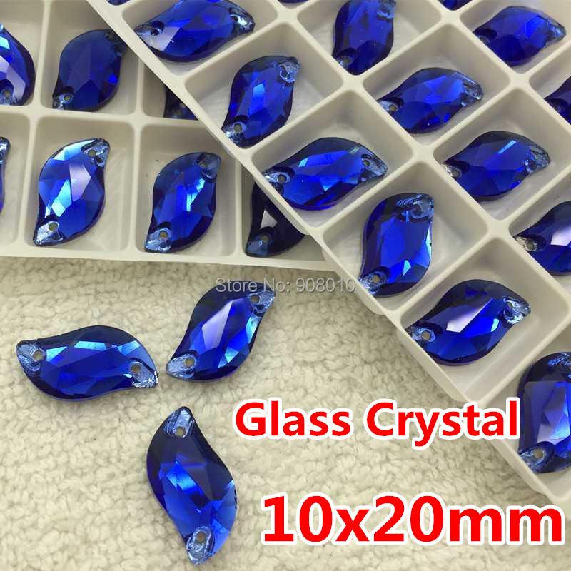 144pcs/box 10X20 mm S shape Sew-on Stone Sapphire Beauty Fish Sew On Rhinestones for bride dress making(China (Mainland))