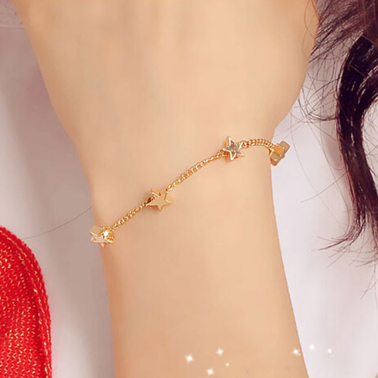 Love fashion star Five heart bracelet bracelet Korean small fresh lady hand decorated Z2013 stars(China (Mainland))