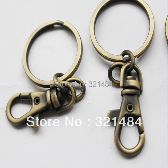 Good Qaulity 200pcs Antique Bronze Brass Metal 50pcs 32mm Split Key Ring With 38mm Swivel Claw Clasp Kaychain Findings<br><br>Aliexpress
