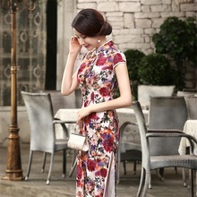 High Quality Chinese Lady Velour Long Cheongsam Qipao Bridesmaid Evening Dress/Qipao Size S M L XL XXLT0004-A