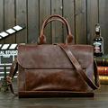 Vintage Men Business Real Genuine Leather Briefcase Travel Causal Messenger Shoulder Portfolio Laptop Bags Lawer Handbag