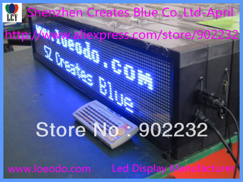 """Free ship,Blue Color,Led Scrolling Sign,1-2lines,Remote Keyboard Programmable Electronic Screen,9""""*40"""",Indoor,P7.62mm,LCY-april(China (Mainland))"""