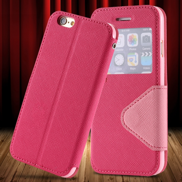 I6 Plus Flip Case PU Leather Window Cover For Iphone 6 Plus 5.5inch View Phone Shell Card Slot Stand Phone Case For Iphone 6+(China (Mainland))