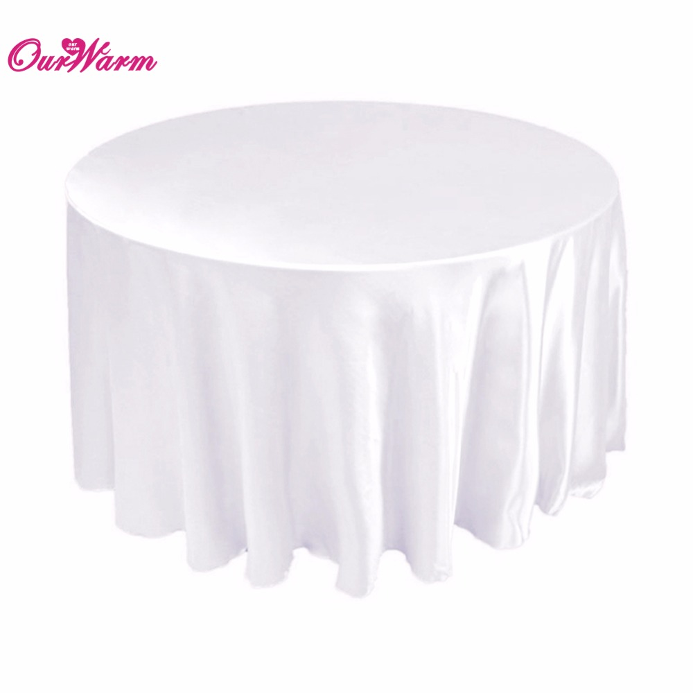 """108"""" White Round Satin Tablecloth Table Cover for Banquet Party Wedding Decoration(China (Mainland))"""