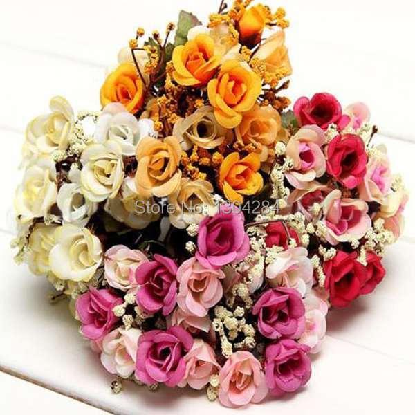 Rose Babysbreath Artificial Silk Flower Wedding Bridal Bouquet Party Decor Gift RSbv(China (Mainland))