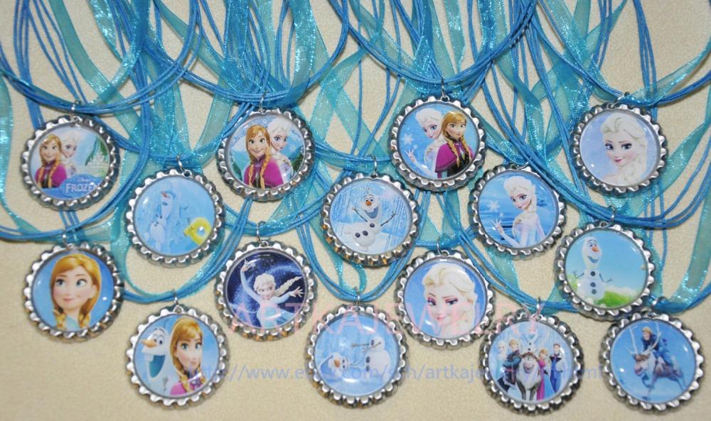 Set of 30 Elsa Anna inspired Flat Bottlecap Organza Ribbon Necklaces!! RB028<br><br>Aliexpress