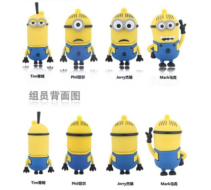100% real capacity promotions!usb creativo!/ Bestselling Mix minions/Despicable Me plastic USB Flash drive 16GB S1 N1 AA(China (Mainland))