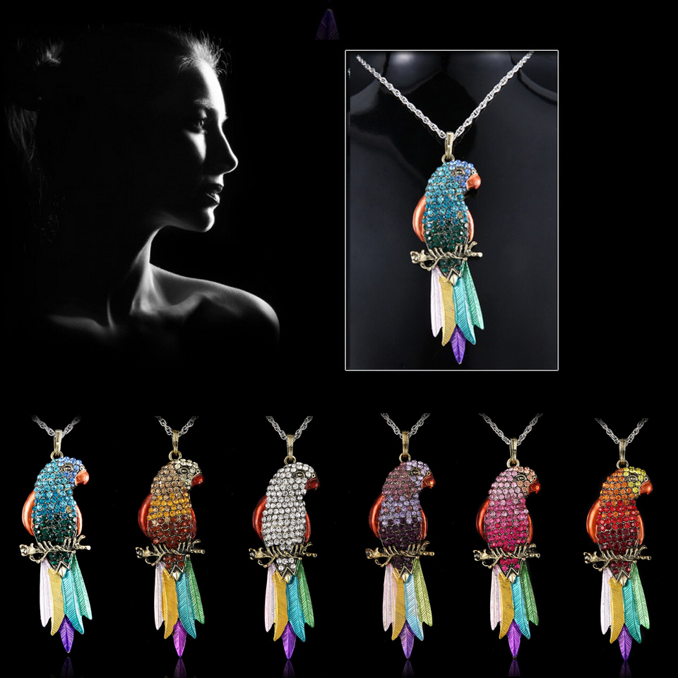 Long Jewelry Sweater Necklace 2015 New Bird Jewelry Exquisite Colourful Parrot Pendants Necklaces Fashion Necklaces For Woman(China (Mainland))