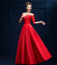 Cheap Long A Line Evening Dresses Wine Red Lace Satin Half Sleeve Bride Elegant Banquet Prom Party Gown Robe De Soiree(China (Mainland))