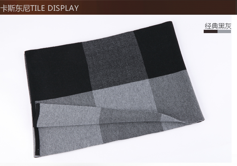 Men Scarf Winter Real Cashmere & Artificial Wool Feeling Scarf Men Tassels/grey Color of Scarves for Christmas Gift B-3823