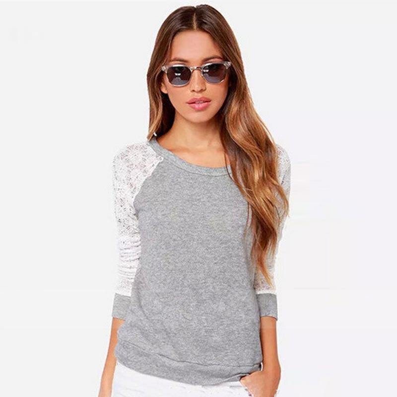 New Arrival Blusas Women Backless Long Sleeve Embroidery Lace Crochet