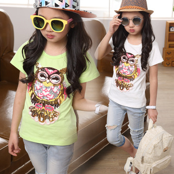 Girls beading t shirts Youth girls T-shirts bead piece embroidery owl short sleeves fashionable Tees all-match cotton tops