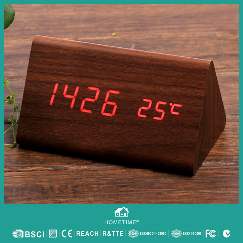 Home Decoration Digital Sound Controlled Wood LED Clock With Temperature Date 3 Alarms, Weather Station Desk Gift Clock #T16(China (Mainland))