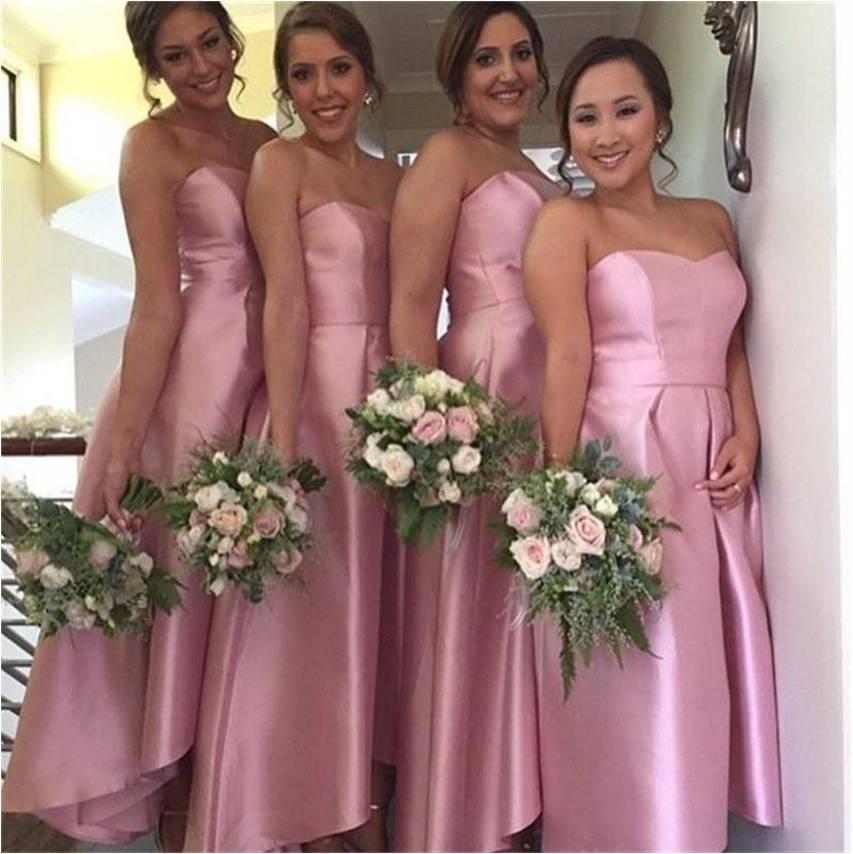 Сексуальная Милая Мода Высокая Низкая Пятно Платья Невесты 2016 Vestidos Де Феста Розовый Дешевые Платья На Заказ ML299