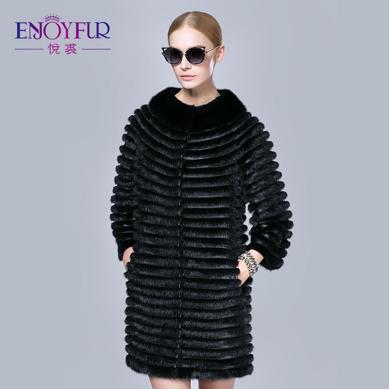 ENJOYFUR winter women fur coat real mink coats genuine leather jacket warm medium long outerwear fashion clothes - Enjoy store