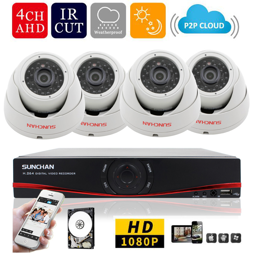 SUNCHAN HD 4Channel Home Surveillance System 1920*1080P 4CH AHD DVR Kits 2.0MP 1080P 3000TVL CCTV Security Cameras System1TB HDD(China (Mainland))