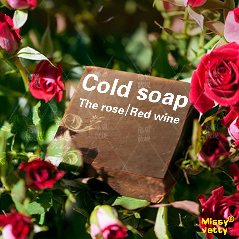 Red Wine rose petals handmade Soap whitening moisturizing skin reducing pigmentation removing freckles for sensitive skin(China (Mainland))