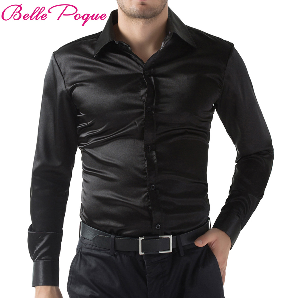 Popular Mens Fitted Satin Black Shirt-Buy Cheap Mens Fitted Satin ...