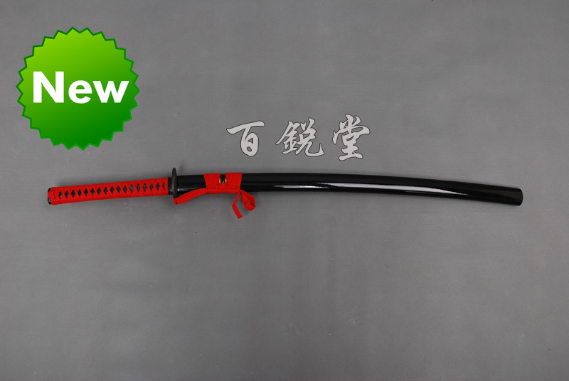hand forged1060 high caborn steel japanese samurai katana sword red handle and sageo blade very sharp(China (Mainland))