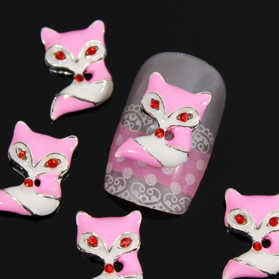b478 50pcs/lot Wholesale Fox Red Eyes Charm Nail Art 3D Metal Nail Decoration Alloy Craft Cellphone Laptop Cover Case Slice(China (Mainland))