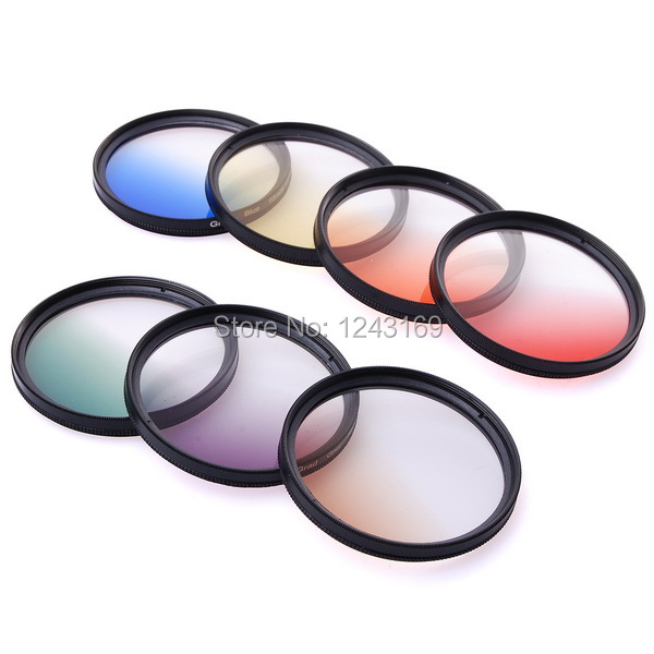 7pcs 58mm Graduated Color Filter kit Green Blue Orange Red Yellow Brown Grey Filters With case for  GoPro Hero 3 / 3+ LF445