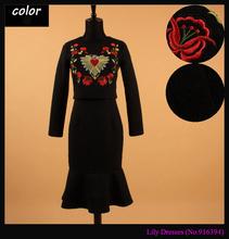 2015 Autumn Fashion Runway Brand European Women's Elegant 9 Point Sleeve Embroidery Flower Heart Cotton Sheath Mermaid Dress(China (Mainland))