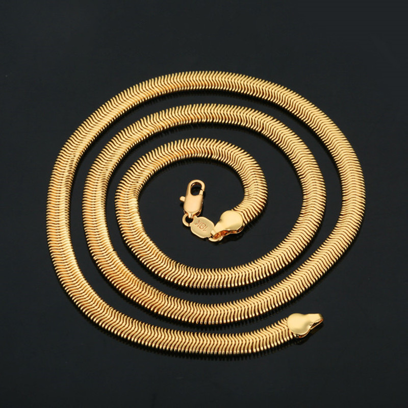 Wholesale Trendy 18K Stamp Snake Chain Necklaces Men Gift 18K Real Gold Plated 6MM Chunky Necklaces & Pendants Men Jewelry(China (Mainland))