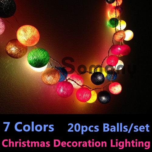 Thailand Man-made Cristmas New Year 7 Colors Cotton Ball Strip Lights Patio Wedding Holiday Party Rainbow Christmas Balls Lights(China (Mainland))