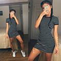 2016 Summer Fashion Kylie Jenner Short Sleeve Black And White Striped Dresses Casual Elegant Sheath Slim
