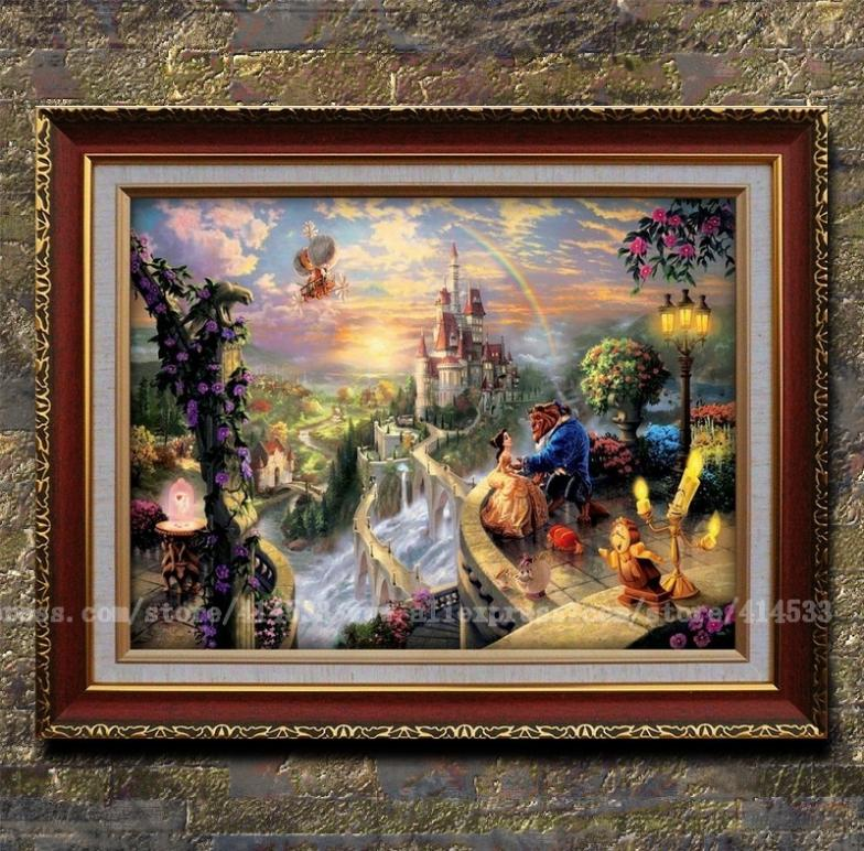 Thomas kinkade prints Beauty and the Beast Falling in Love HD print Fade resistant painting Home decor modern wall painting(China (Mainland))