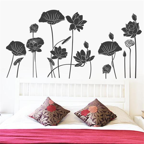 creative Lotus and lotus leaf wall stickers kitchen bedroom decoration TV sofa wall background tattoos vinyl wall art home decal(China (Mainland))