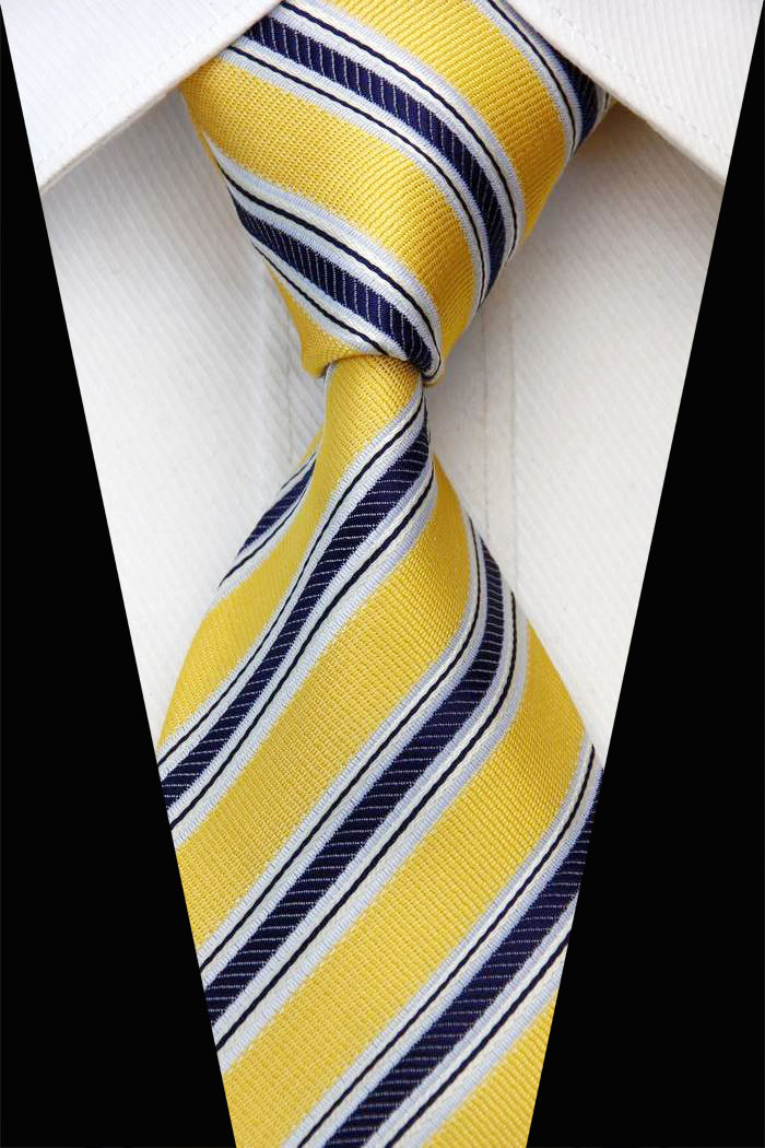 NT0567 Yellow Navy Stripes Classic Silk Polyester Man s Jacquard Woven Necktie New Business Casual Knitting