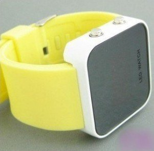wholesale! NEW Fashion Boy Girls ODM jelly yellow Watch, ODM Mirror LED watches Digital watches FREE shipping
