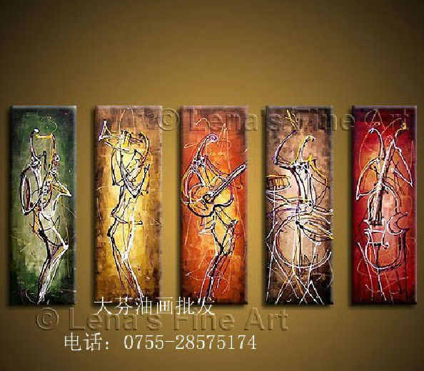 Free shipping Hand-painted wall art Abstract Play Musical instruments line Oil Painting on canvas 5 pcs/set wood framed(China (Mainland))